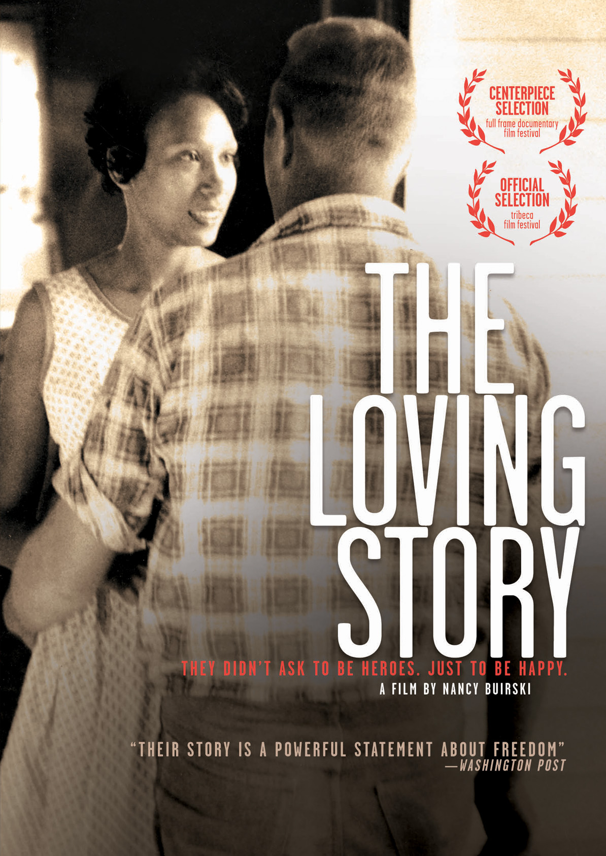 Film poster of the Loving Story. White man and a black woman hugging.