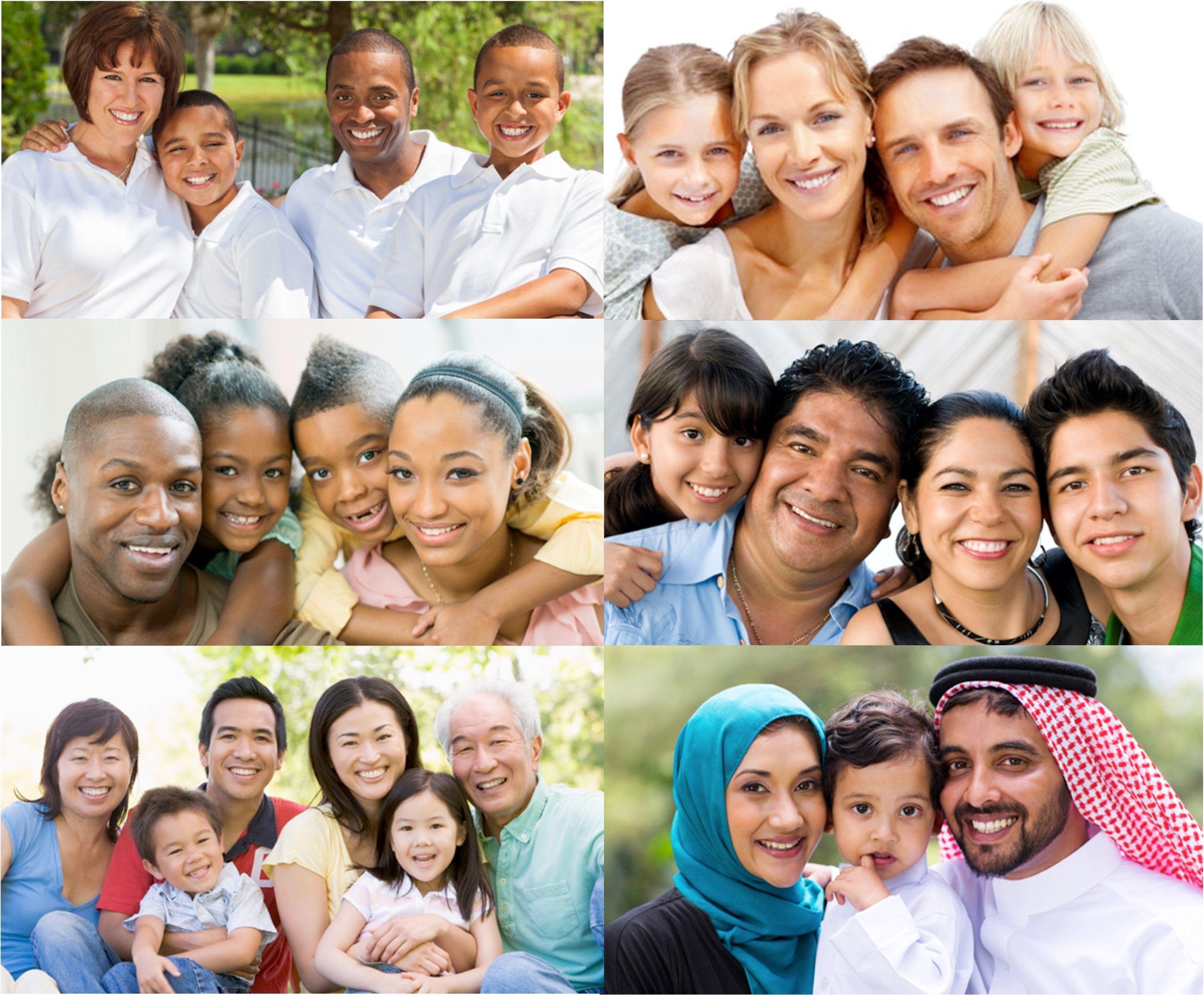Race and family image showing different types of families.